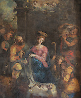 Adoration of the Shepherds, attributed to Antonio Campelo, late 16th century, mural in the refectory of the Jeronimos Monastery or Hieronymites Monastery, a monastery of the Order of St Jerome, built in the 16th century in Late Gothic Manueline style, Belem, Lisbon, Portugal. The monastery is listed as a UNESCO World Heritage Site. Picture by Manuel Cohen