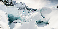 Ice caves on Franz Josef Glacier, Westland National Park, West Coast, World Heritage Area, South Westland, New Zealand