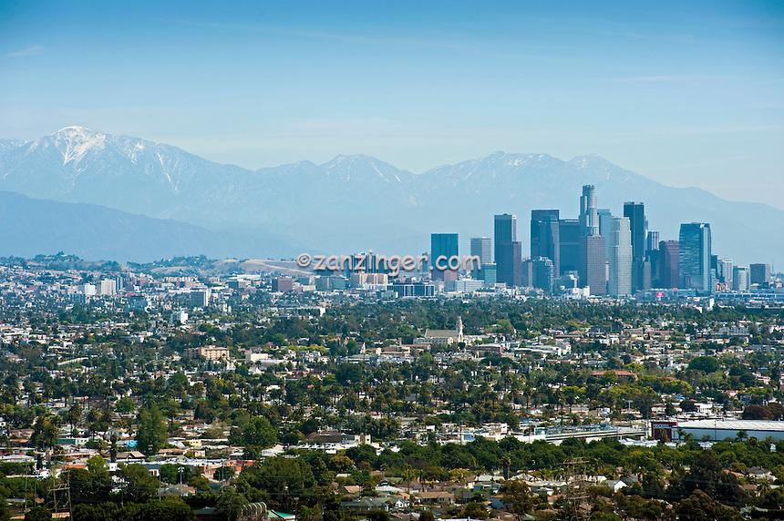 Los Angeles, CA, Cityscape, Skyline, San Gabriel Mountains, California