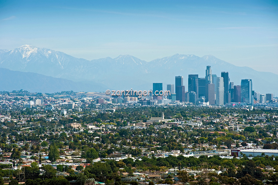 Los Angeles, CA, Cityscape, Skyline, San Gabriel Mountains, California