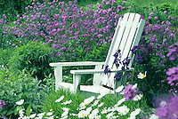 White Adirondack chair with purple flowers