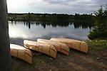 canoes at lake in Quebec