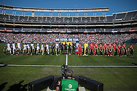 San Diego, CA - Sunday January 29, 2017: United States, Serbia prior to an international friendly between the men's national teams of the United States (USA) and Serbia (SRB) at Qualcomm Stadium.