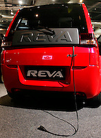 "A Reva electrical car with its charging cord. Renewable sources will be helping to meet the world's demand for energy in the future. This development opens new markets and opportunities for business. Hoping to make ""green business"" and ""green profit"" over 60 exhibitors took part in the The North European Renewable Energy Convention (Nerec) , in Norway, presenting their solutions for renewable energy in the future. .© Fredrik Naumann/Felix Features"