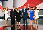 Governor Mike Pence (Republican of Indiana), the GOP nominee for Vice President of the United States and his family on the podium following his acceptance speech at the 2016 Republican National Convention held at the Quicken Loans Arena in Cleveland, Ohio on Wednesday, July 20, 2016.<br /> Credit: Ron Sachs / CNP<br /> (RESTRICTION: NO New York or New Jersey Newspapers or newspapers within a 75 mile radius of New York City)
