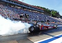 Jun. 15, 2012; Bristol, TN, USA: NHRA top fuel dragster driver Scott Palmer during qualifying for the Thunder Valley Nationals at Bristol Dragway. Mandatory Credit: Mark J. Rebilas-
