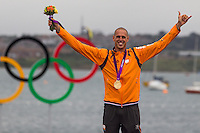 ENGLAND, Weymouth. 7th August 2012. Olympic Games. Men's RS:X Class. Medal Ceremony. Dorian van Rijsselberge (NED) Gold Medalist.