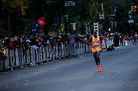 New York City, NY. 02 November 2014.A runner attends the 29th New York City Marathon as he arrives to Central park.