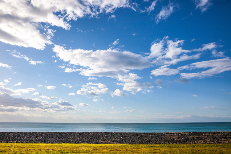 Waterfront from Marine Parade with blue sky and clouds, Napier, New Zeaalnd - stock photo, canvas, fine art print
