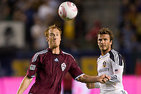 Colorado Rapids midfielder Jeff Larentowicz and David Beckham of the LA Galaxy ball watching. The Colorado Rapids defeated the LA Galaxy 3-1 at Home Depot Center stadium in Carson, California on Saturday October 16, 2010.