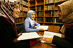Photo by Heathcliff Omalley..Kazan 2 November 2007.Young female students in the library of the Islamic University in Kazan, the capital of the oil rich region of Tartarstan. Statistics show that the Russian Muslims population could overtake the Christian Orthodox in the next thirty years.