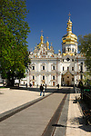 Travel stock photo of Mother of God Assumption church on the territory of Kievo-pecherskaya lavra - Kiev pechersk lavra - Cave monastery in Kiev Ukraine Eastern Europe Architecture in Ukrainian baroque architectural style Largest monastery in Russia Vertical orientation May 2007