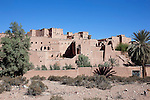 Kasbah Taourirt with clear blue sky, Ouarzazate, Morocco.