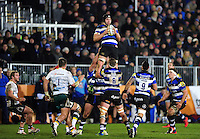 Charlie Ewels of Bath Rugby claims the ball in the air. Aviva Premiership match, between Bath Rugby and Northampton Saints on February 10, 2017 at the Recreation Ground in Bath, England. Photo by: Patrick Khachfe / Onside Images