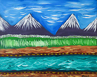 Colorful and primitive painting of the Bitterroot Valley in Montana, Snow capped mountains give way to fertile fields and the Bitterroot River.