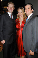 L-R: Eric Trump, Vanessa Trump and Donald Trump Jr. attend the Trump Magazine and FAO Schwarz evening shopping fete to celebrate the birthdays of Vanessa and Donald Trump Jr. with a percentage of all proceeds from sales during the event to benefit Operation Smile, held in FAO Schwarz Fifth Avenue Store, Monday, December 11, 2006 in New York.<br />