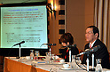 January 25, 2012, Tokyo, Japan - Katsuyuki Haranaka, president of the Japan Medical Association, expresses his opinion against the Trans-Pacific Partnership trade agreement, during a news conference at Tokyo's Foreign Correspondents Club of Japan on Wednesday, January 25, 2012. While Japan's government believes it must seize this opportunity to modernize the Japanese economy and farm sector to keep pace with the rest of the world, and consumers may benefit from reduced food costs and more effective medications, opinion in Japan remains divided on trade liberalization. Haranaka said JMA, representing some 166,000 doctors and physicians across Japan, is worried that poorly supervised liberalization in their field could jeopardize Japanese people's well-being and put an end to the country's supremacy in the field of the average life expectancy for both men and women. (Photo by Natsuki Sakai/AFLO) AYF -mis-