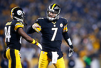 Ben Roethlisberger #7 congratulates teammate Antonio Brown #84 of the Pittsburgh Steelers following his touchdown in the first half against the Indianapolis Colts during the game at Heinz Field on December 6, 2015 in Pittsburgh, Pennsylvania. (Photo by Jared Wickerham/DKPittsburghSports)