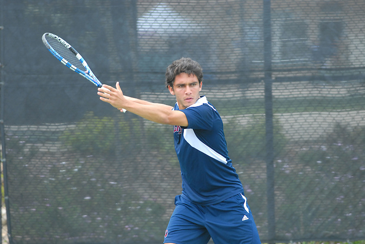 April 25, 2012; San Diego, CA, USA; Loyola Marymount Lions athlete Sebastian Bustamante during the WCC Tennis Championships at the Barnes Tennis Center.