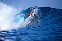 Teahupoo Tahiti. Ross Clarke Jones (AUS) surfing Tehaupoo during a trip to Tahiti in 1993.  Photo: joliphotos.com