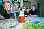 Welsh Water .Pupils from Llansawel Primary School visiting Cilfynydd Education Centre..L-R: Kion Francis, Jaime Lee Locke, Layla Clark & James Joyce with teacher Mari.27.09.12.©Steve Pope