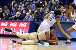 29 January 2017: Wake Forest's Milan Quinn (32) dives on a loose ball under Duke's Leaonna Odom (5). The Duke University Blue Devils hosted the Old Dominion University Monarchs at Cameron Indoor Stadium in Durham, North Carolina in a 2016-17 Division I Women's Basketball game. Duke won the game 71-43.