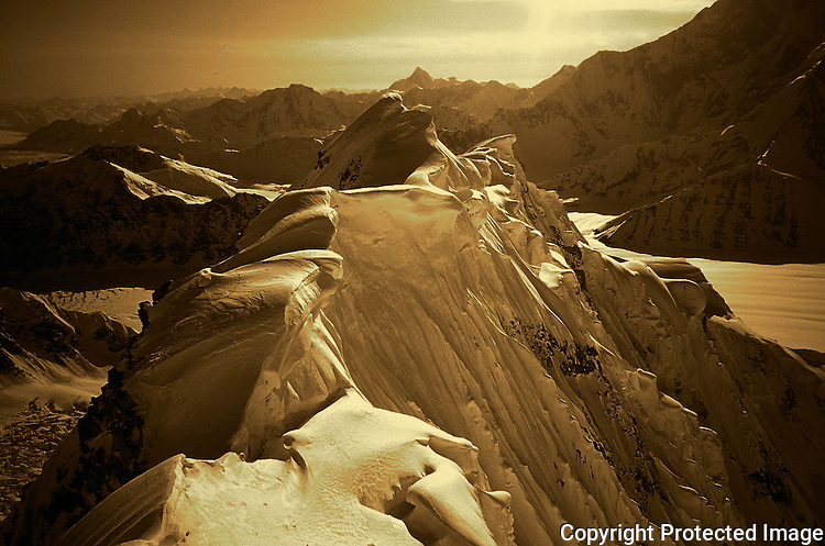 Looking down the West Ridge of Mount Hunter towards the Kahiltna Glacier, Alaska Range.