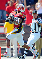 Da'Rel Scott of the Terrapins heads for the endzone. Maryland defeated FIU 42-28 during a game at Capital One Field at Byrd Stadium in College Park, MD on Saturday, September 25, 2010. Alan P. Santos/DC Sports Box