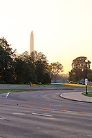 An early morning view of Lincoln Memorial Circle and the Washington Monument.