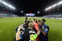 San Jose, CA - Saturday, March 04, 2017: San Jose Earthquakes huddle prior to a Major League Soccer (MLS) match between the San Jose Earthquakes and the Montreal Impact at Avaya Stadium.