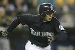 Seattle Mariners' Ichiro Suzuki collects his 199th hit in the first inning, a double to right field,  against the Oakland Athletics in Seattle, Washington on Friday, 30 September, 2005. Ichiro is trying to become just the sixth player in MLB history to collect 200 hits in five straight seasons. Jim Bryant Photo. ©2010. ALL RIGHTS RESERVED.