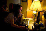 Sharon Ferrell looks up recipes online at their home in Lincoln, CA May 13, 2009.