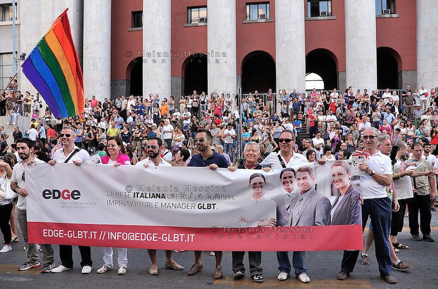 Parata del gay pride a Palermo.<br /> Gay pride parade in Palermo.