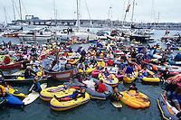 SAN FRANCISCO, CA - Boats fill McCovey Cove outside of Pacific Bell Park as fans wait to catch a Barry Bonds home run ball in San Francisco, California in 2001. (Photo by Brad Mangin)
