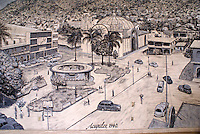 Mural showing the Zocalo in downtown Acapulco, Mexico, in 1940