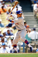 4 May 2011:#15 Darwin Barney at bat while the Cubs defeated the Dodgers 5-1 during a Major League Baseball game at Dodger Stadium in Los Angeles, California.  Dodgers players are wearing Brooklyn Dodger 1940's throwback jersey uniforms and the Chicago Cubs are also wearing throwback retro jersey uniforms. **Editorial Use Only**