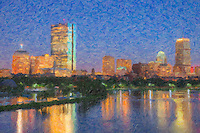 Twilight view of the Boston skyline including the John Hancock building and Prudential Center, as seen over the Charles River from the Longfellow Bridge. The image was creatively modified to resemble a painting.