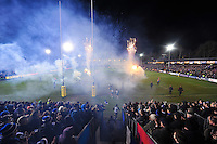 Fireworks and flames go off as the Bath Rugby run out onto the field. Aviva Premiership match, between Bath Rugby and Gloucester Rugby on February 5, 2016 at the Recreation Ground in Bath, England. Photo by: Patrick Khachfe / Onside Images