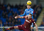 St Johnstone v Motherwell&hellip;20.02.16   SPFL   McDiarmid Park, Perth<br />Murray Davidson gets above Louis Laing<br />Picture by Graeme Hart.<br />Copyright Perthshire Picture Agency<br />Tel: 01738 623350  Mobile: 07990 594431