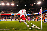 Thierry Henry (14) of the New York Red Bulls takes a corner kick. The New York Red Bulls defeated the Chicago Fire 5-2 during a Major League Soccer (MLS) match at Red Bull Arena in Harrison, NJ, on October 27, 2013.