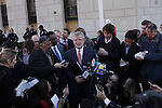 Lawyers for former IMF chief Dominique Strauss-Kahn, William W.Taylor (C) and Amit P. Mehta (centre R), speak to the media after the civil case with Nafissatou Diallo in New York, United States. 28/03/2012.  Photo by Kena Betancur / VIEWpress.