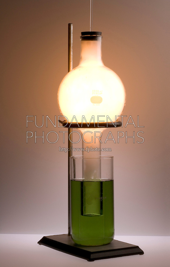 PHOSPHORUS MOON DEMONSTRATION<br /> (3 of 10 - Variations Available)<br /> Combustion of Red Phosphorus in An O2 Atmosphere<br /> Red phosphorus in a deflagrating spoon  is lit and put into the oxygen filled  round bottom flask which has been modified to extend into the beaker of water with universal indicator. The green color shows the pH to be 7