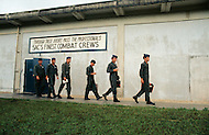 """June 1972, Guam --- The Andersen Air Force Base on Guam Island from where the B-52 Stratofortress planes take off for Vietnam. A B-52 crew leaving from the """"Good Luck door"""" before a flight. --- Image by © JP Laffont/Sygma/Corbis"""