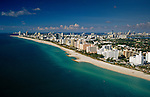 Aerial of Miami Beach art deco district view ed from 32nd Street looking south toward Government Cut.