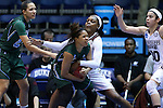 20 March 2015: Mississippi State's Sherise Williams (right) gets a hand in on Tulane's Kolby Morgan (left). The Mississippi State University Bulldogs played the Tulane University Green Wave at Cameron Indoor Stadium in Durham, North Carolina in a 2014-15 NCAA Division I Women's Basketball Tournament first round game.