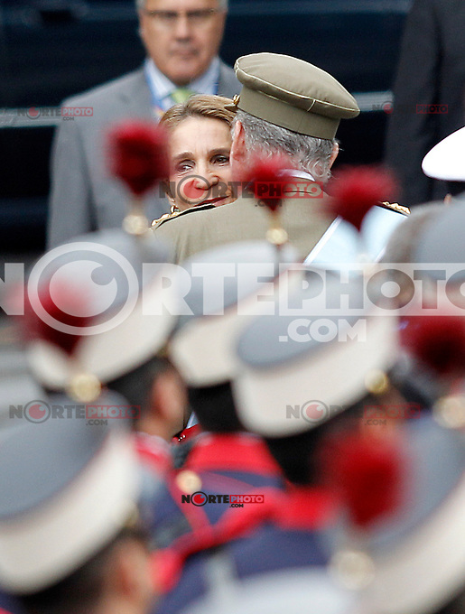 Infanta Elena of Spain and his father Juan Carlos I King of Spain during the National Day Military Parad.October 12,2012.(ALTERPHOTOS/Acero) /NortePhotoAgency