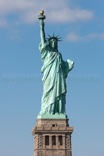The Statue of Liberty on Liberty Island in New York Harbor