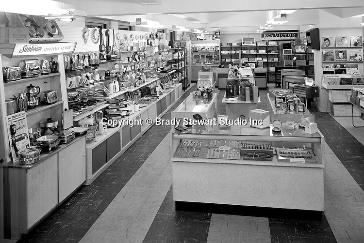 Pittsburgh PA:  New appliances, record players, cameras, record albums, and men & women's razors for sale at Eiben and Irr Department Store - 1958.  Eiben and Irr Jewelry and Department Store operated in downtown Pittsburgh at the corner of Wood Street and Liberty Avenue from 1953-1979.