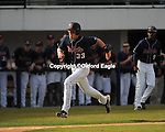 Mississippi first baseman Matt Snyder scores vs. Louisiana-Monroe at Oxford-University Stadium in Oxford, Miss. on Saturday, February 20, 2010 in Oxford, Miss. Mississippi won.