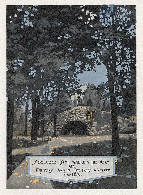 "Dome yearbook 1916, page 10:  Drawing of the Grotto..Caption:  ""Secluded spot wherein the very air, whispers among the trees a vesper prayer."".Drawing by Joseph Patrick Flynn.  Poem by Rev. Thomas E. Burke, CSC..Image from the University of Notre Dame Archives."